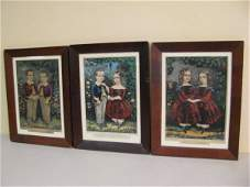 370 THREE ORIGINAL ANTIQUE CURRIER  IVES LITHOGRAPHS