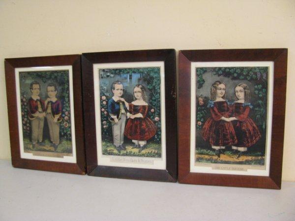 370: THREE ORIGINAL ANTIQUE CURRIER & IVES LITHOGRAPHS