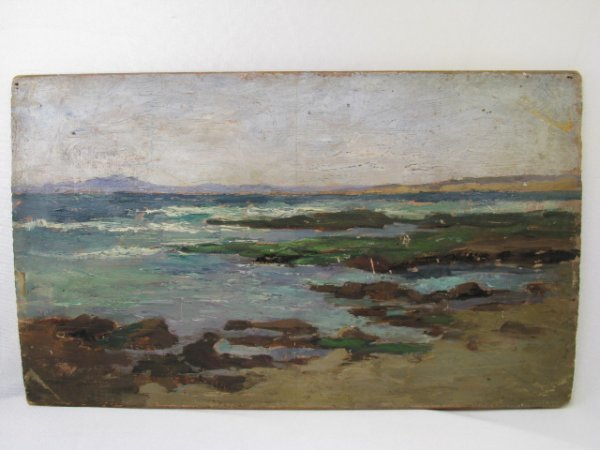 560: PRIMITIVE OIL PAINTING ON BOARD OCEAN SHORE SCENE