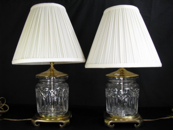 664: PAIR OF WATERFORD CRYSTAL LAMPS W/CRESCENT BASES