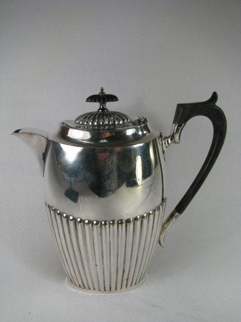 708: FINE SILVER PLATED COFFEE POT W/ EBONY HANDLE