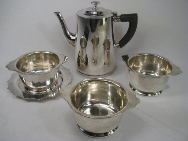 717: GROUP SILVER PLATE COFFEE POT, COASTER, BOWLS 5pcs