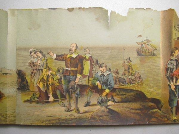 723: PANORAMIC CHROMO LITHOGRAPH PRINT AMERICAN HISTORY