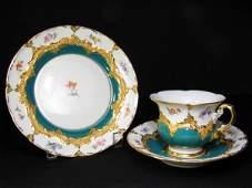 750: MEISSEN CUP SAUCER PLATE GILT FLORAL & TEAL BLUE