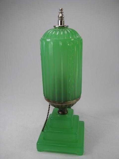 929: ART DECO JADE GREEN GLASS LAMP - 2