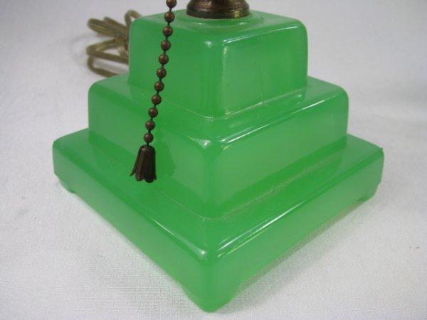 929: ART DECO JADE GREEN GLASS LAMP - 4