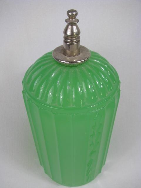 929: ART DECO JADE GREEN GLASS LAMP - 6
