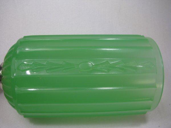 929: ART DECO JADE GREEN GLASS LAMP - 7