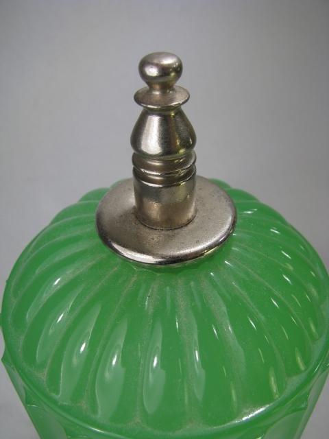 929: ART DECO JADE GREEN GLASS LAMP - 9