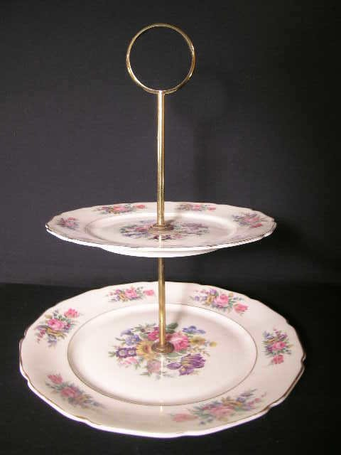 5: FLORAL DECORATED BAVARIAN DESSERT TRAY 2 TIER