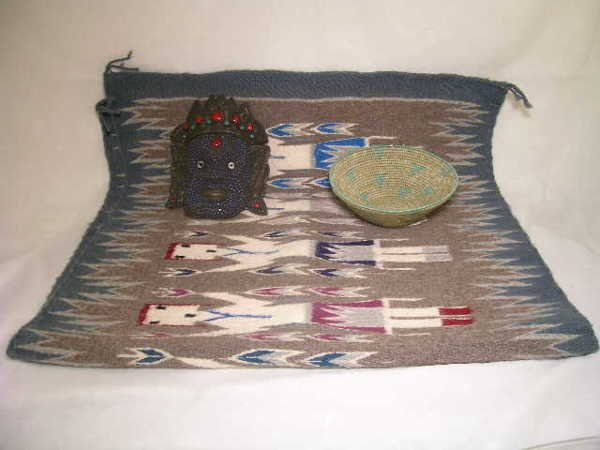 18: GROUP INDIAN WOVEN BASKET AND BLANKET NEPAL MASK