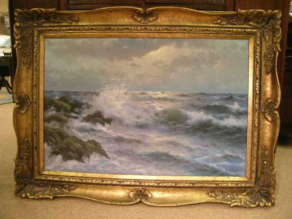 20: OIL ON CANVAS SHORE OCEAN SIGNED P CAPANDZA?