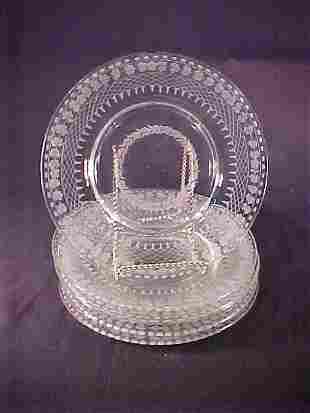 ANTIQUE ETCHED GLASS PLATES 6 pc
