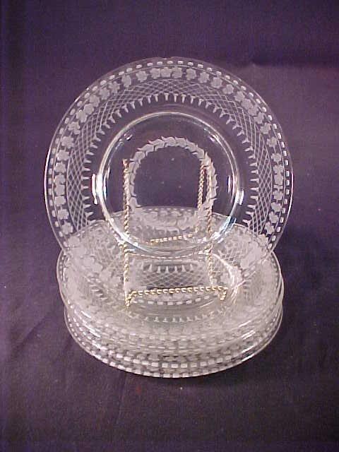 9: ANTIQUE ETCHED GLASS PLATES 6 pc