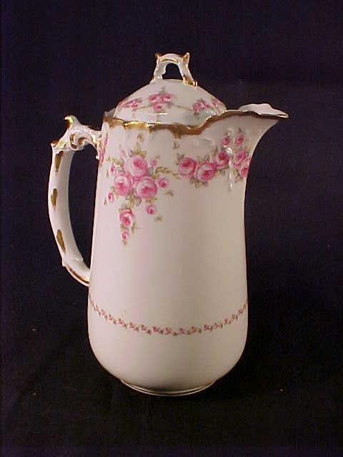 12: LIMOGES FLORAL ROSE COFFEE POT