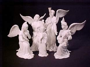 FIVE LENOX PORCELAIN ANGELS