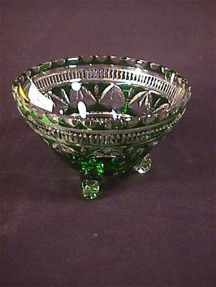 GREEN CUT TO CLEAR CRYSTAL BOWL
