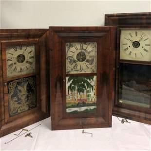 THREE ANTIQUE OGEE CLOCKS