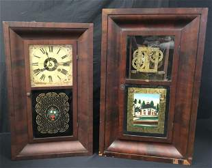 TWO ANTIQUE OGEE CLOCKS