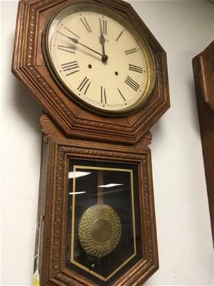 SESSIONS OAK LONGDROP SCHOOLHOUSE CLOCK