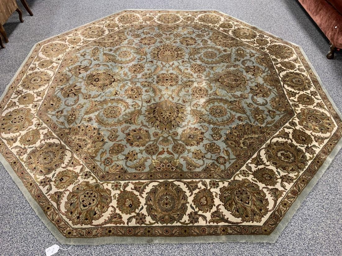 INDIAN HAND KNOTTED OCTAGONAL WOOL RUG 9' DIAMETER