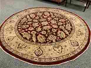 ROUND HAND KNOTTED WOOL & COTTON RUG 8' DIAMETER