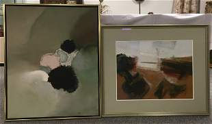 TWO WALTER MEIGS MODERN ABSTRACT PAINTINGS