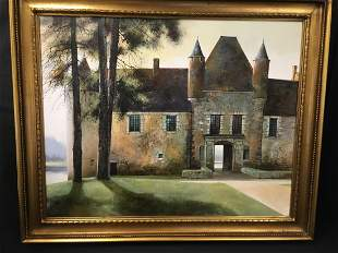 MARC CHAPAUD OIL ON CANVAS PAINTING: CHATEAU BOUCA