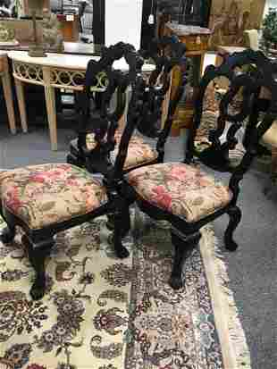 SIX CENTURY BLACK FRENCH COUNTRY DINING CHAIRS
