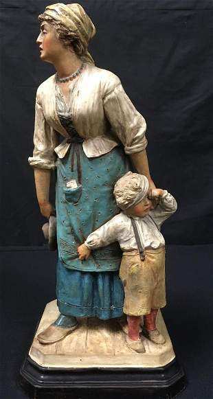 ANTIQUE FRENCH CHALKWARE FIGURAL GROUP BOY & MOM