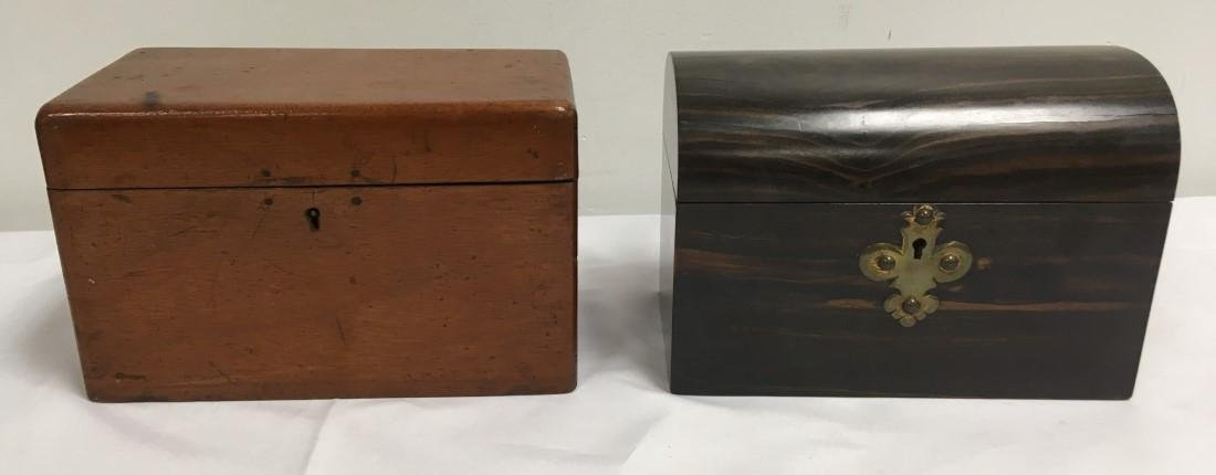 TWO ANTIQUE 19TH C WOODEN TEA CADDY BOXES