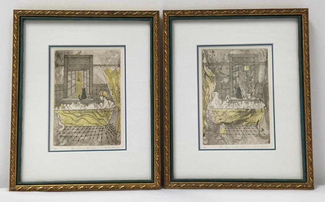 TWO HELEN KUNIC AQUATINT ETCHINGS: IN THE TUB