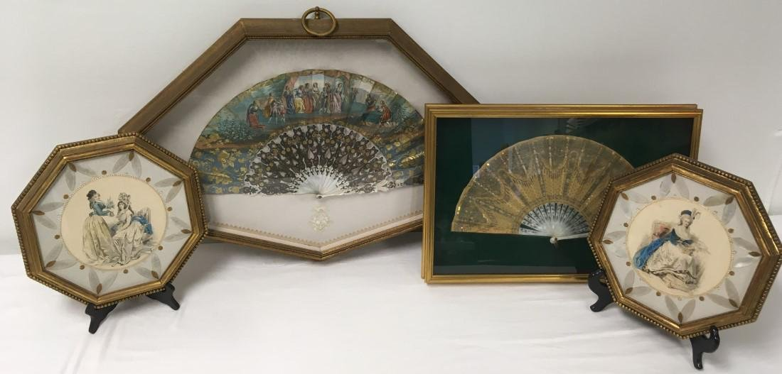VICTORIAN MOTHER OF PEARL DECORATIVES 4 PCS: FANS etc.