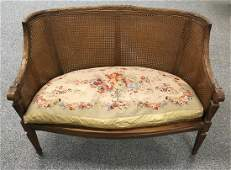 FRENCH LOUIS XVI STYLE DOUBLE CANED SETTEE