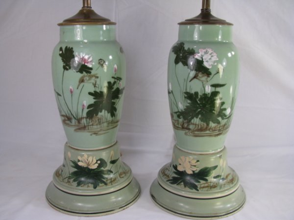 2: PR VINTAGE 1950'S HAND PAINTED GREEN CERAMIC LAMPS