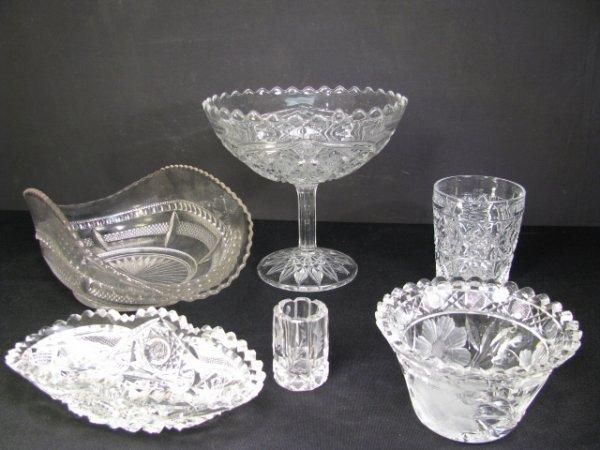 4: CUT &  PRESSED PATTERN GLASS SIX PIECES