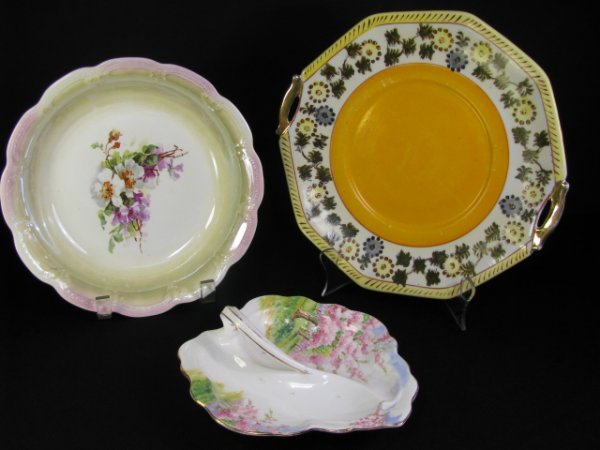 5: THREE PORCELAIN FLORAL DECORATED SERVING DISHES