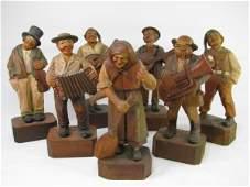 8 GERMAN HAND CARVED WOOD FOLK ART BAND FIGURES 7pc