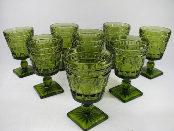 11: EIGHT GREEN PRESSED PATTERN STEM GLASSES