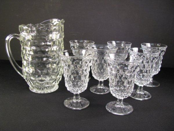15: FOSTORIA AMERICAN PATTERN PITCHER & ICE TEA GLASSES