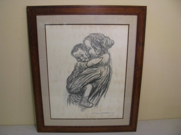 94: KATHE KOLLWITZ LITHOGRAPH  MOTHER & CHILD