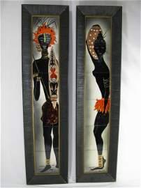 132: PAIR 1950's MODERN IRINA GLAZED ART TRIBAL TILES