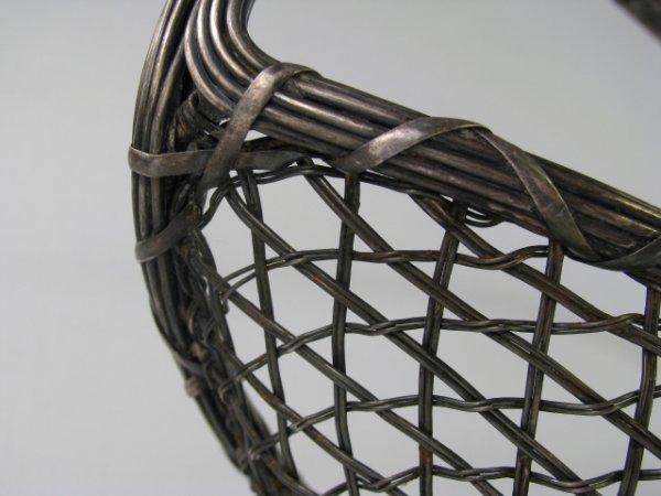 176: SILVER PLATE WOVEN BREAD BASKET - 4