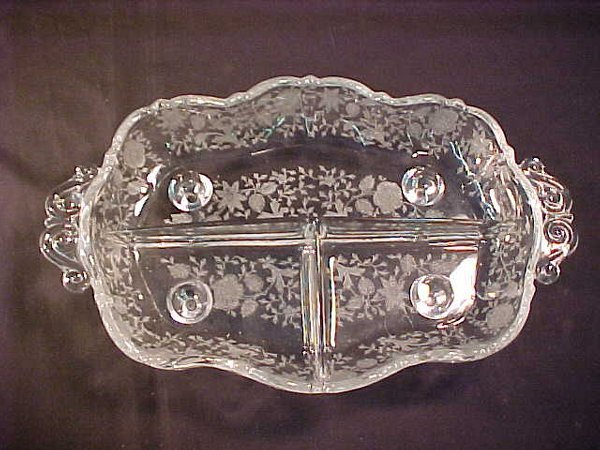447: DEPRESSION GLASS RELISH DISH AND TRAY