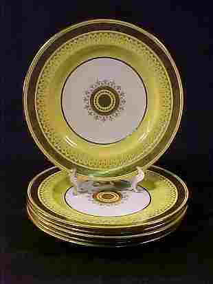 SIX MINTON YELLOW LUNCH PLATES
