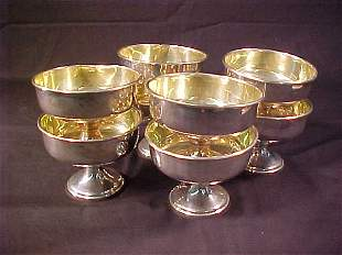 STERLING SILVER GOLD WASH SORBET CUPS