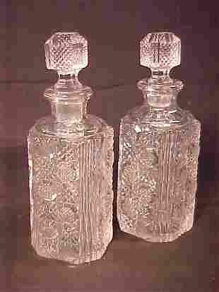 ANTIQUE MOLD BLOWN CUT GLASS DECANTERS p