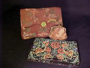 TWO VINTAGE FABRIC PURSES