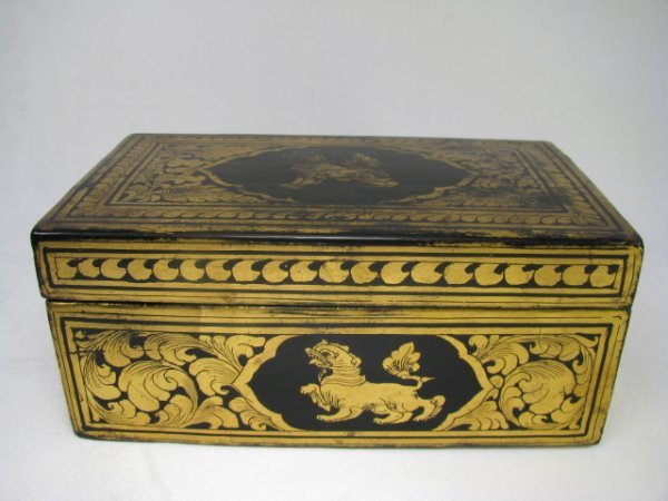 309: CHINESE GILT BLACK LACQUERED BOX  FOO DOGS