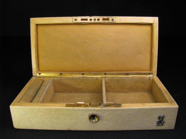 314: SHAGREEN COVERED JEWELRY BOX W/ BRASS
